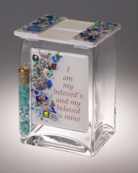 Wedding Glass Keepsake Beloved Tzedakah Box by Beames Designs-tzedakah box-AllThingsJewish.com
