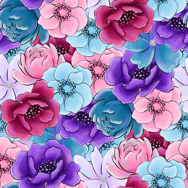 """Floral #53"" Purple Flowers Heat Transfer Vinyl and Permanent Adhesive Vinyl"
