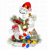 Tiered Tray Snowman, Rae Dunn Inspired