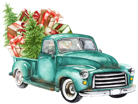Watercolor Turquoise Truck with Gifts
