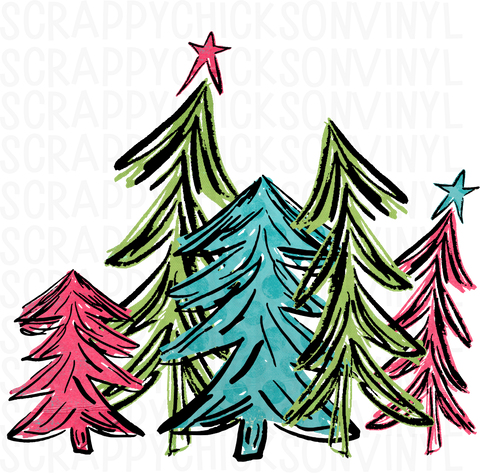 Bright Pink and Teal Christmas Trees
