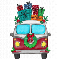 Hand drawn VW Bus Christmas