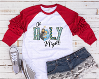 """Oh Holy Night""  -Ready to Press Heat Transfer/Sublimation Transfer, Elf Transfer , Christmas Transfer"