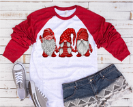 """Christmas Gnome Triplets""   -Ready to Press Heat Transfer/Sublimation Transfer, Christmas Gnome Transfer"