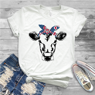 """Cow with 4th of July Bandana"" - Ready to Press Heat Transfer"