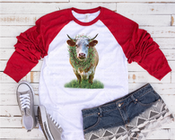 """Christmas Cow""   -Ready to Press Heat Transfer/Sublimation Transfer, Christmas Heifer Transfer"