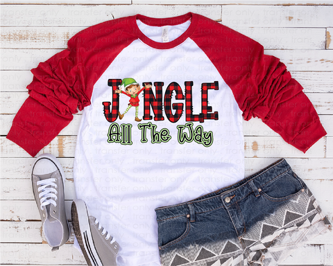 """Jingle All the Way Elf"" -Ready to Press Heat Transfer/Sublimation Transfer, Elf Transfer , Christmas Transfer"