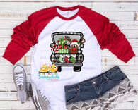 """Hand painted Buffalo Plaid Christmas Truck with Reindeer  ""-Ready to Press Heat Transfer/Sublimation Transfer"