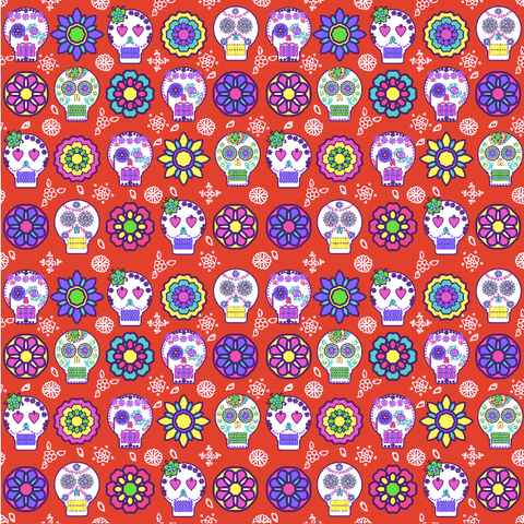 """Sugar Skull"" RED TILED"