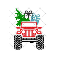 """Christmas Jeep"" -Ready to Press Heat Transfer/Sublimation Transfer"