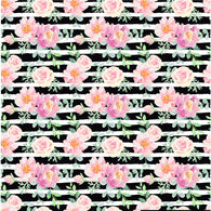 """Floral Stripes"" Black - Pattern Vinyl and Heat Transfer Vinyl"
