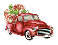 """Red Truck filled with Gifts ""  - Ready to Press Heat Transfers"