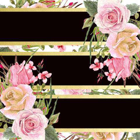 """Stripes and Vintage Roses""  PatternCraft Vinyl and Heat Transfer Vinyl Sheet"