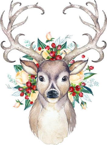 """Christmas Deer"" -Ready to Press Heat Transfer/Sublimation Transfer"