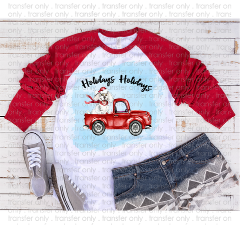 """Happy Holidays Dog in Red Truck""   -Ready to Press Heat Transfer/Sublimation Transfer"