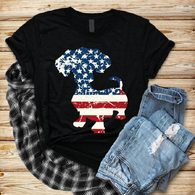 """Dauschund Perky America "" - Ready to Press Heat Transfer"