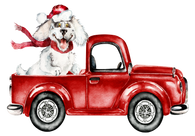 """Red Watercolor Truck with Dog""  -Ready to Press Heat Transfer/Sublimation Transfer"