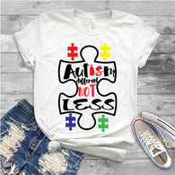 "Autism Shirts, Autism Awareness SVG, Autism Speaks , T-Shirt Transfer,""Different Not Less"" Ready to Press Tshirt Transfer Autism Awareness"