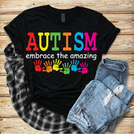 "Autism Shirts, Be Kind, Autism Awareness SVG, Autism Speaks , T-Shirt Transfer,""Embrace the Amazing with Solid Words""  PrintedTransfer"