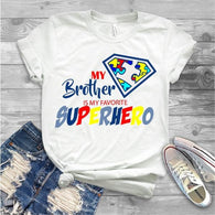 "Autism Brother, Sister , Autism Awareness,  Autism Iron On , T-Shirt Transfer,""Autism Brother Superhero"" Autism Brother PrintedTransfer"