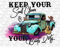 "Antique Truck Sublimation Transfer, Country Girl Heat Transfer , Shirt Transfer,""Keep our Soul Clean "" Printed Transfer"