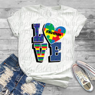 "Autism Sublimation transfers, Autism HTV transfers, Autism Awareness, Autism design, Autism Speaks , T-Shirt Transfer,""Love / Autism"""