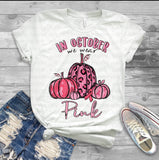 "Breast Cancer Awareness Pumpkin Sublimation, Ready to Press Transfers,  ""In October We Wear Pink Polka Dot""  Sublimation Printed Transfer"