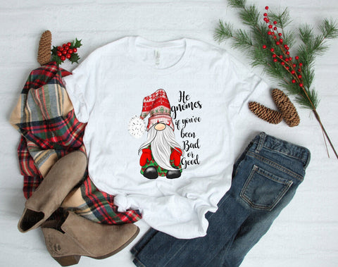"Christmas screen print, Sublimation,  Gnome Sublimation, Ready to Press Transfer,  ""Gnome good or bad"" Printed Transfer, Heat Transfer"