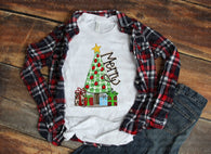 "Christmas Tree Sublimation transfer, Holiday Screen Print Transfer , ""Merry Tree with gifts"" Printed Heat Transfer/Sublimation"