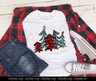 "Christmas Sublimation or HTV Transfer, Christmas Shirts, Holiday Shirt Transfers  ""Red&Minty Trees"" Christmas Trees  Ready to Press Transfer"