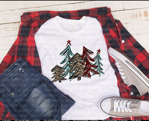 "Christmas Sublimation/HTV Transfer, Christmas Shirts, Holiday Shirt Transfer ""Red & Leopard Trees "" Christmas Trees  Ready to Press Transfer"