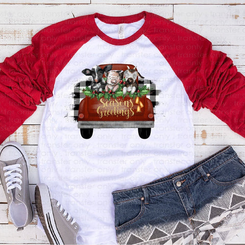 "Christmas Farm Sublimation transfer, Holiday Screen Print Transfer , ""Christmas Farm "" Heat Transfer/Sublimation, Ready to Press"