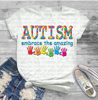 "Autism Sublimation Transfer, Autism Awareness Designs,  Sublimation Transfer,, ""Embrace Autism"" ready to press trans"