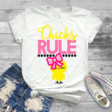 "Chicks Rule Sublimation, Easter Sublimation transfer, Peeps transfer """"Chicks Rule Sublimation"" T-Shirt Transfer, Sublimation Transfer"