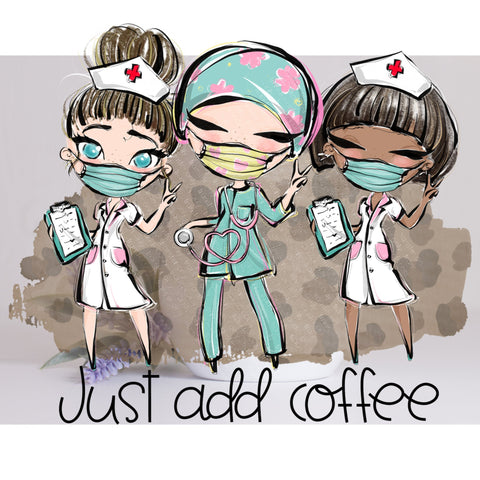 "CNA, Nurse Assistant, Essesntial Workers, sticker, decal, Cup decal,  ""Just Add Coffee"" Laptop Decals, Essential Worker, Car Decals , ""CNA"""