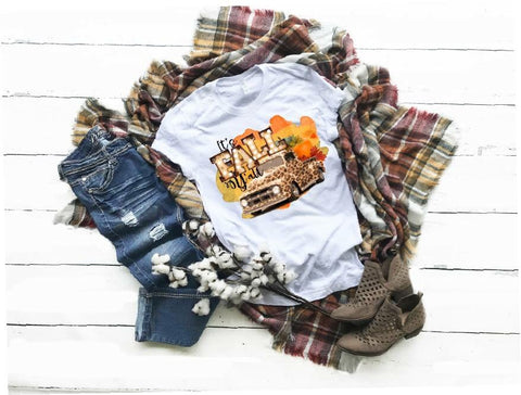 """Happy Fall Leopard Truck""- Ready to Press Heat Transfer"