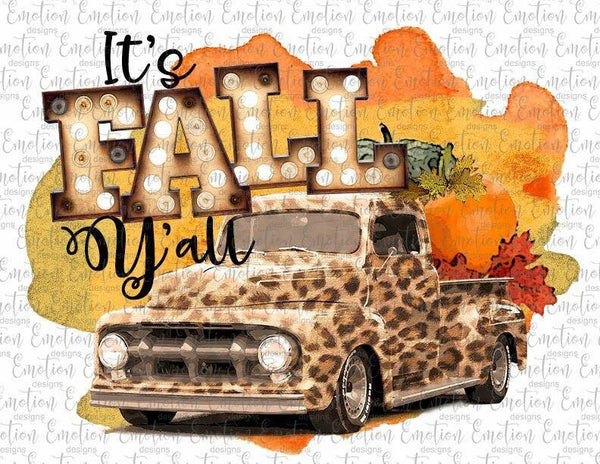 """ Happy Fall Leopard Truck""- Ready to Press Heat Transfer"