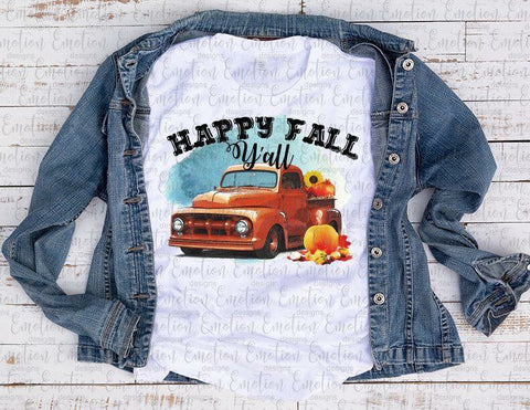 """Happy Fall Red Truck""- Ready to Press Heat Transfer"