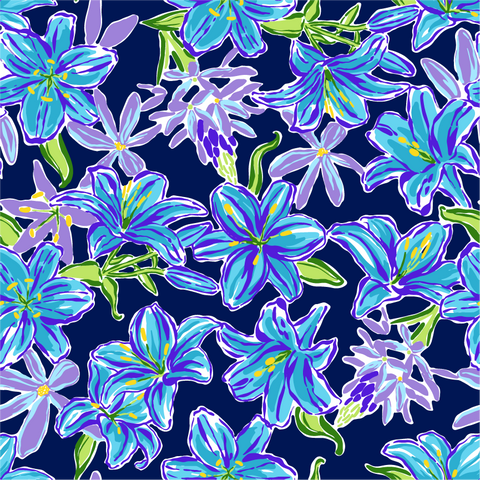 """Midnight Blue Orchids"" Heat Transfer Vinyl Sheets and Permanent Craft Vinyl Sheets"