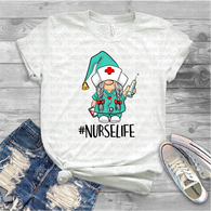 """Gnome Nurse LIfe""  -Ready to Press Heat Transfer/Sublimation Transfer, Christmas Gnome Transfer"