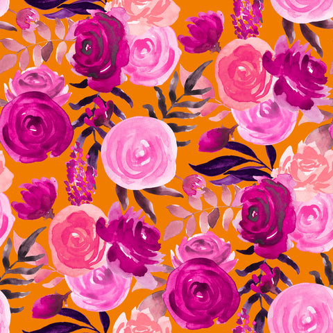 """Orange Glow and Purple Flowers"" Heat Transfer Vinyl and Permanent Adhesive Vinyl"