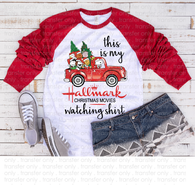 """Peanuts Merry Christmas/ HALLMARK Watching Shirt"" -Ready to Press Heat Transfer/Sublimation Transfer"