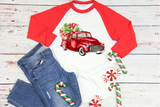 """Red Watercolor Truck with Gifts""  -Ready to Press Heat Transfer/Sublimation Transfer"