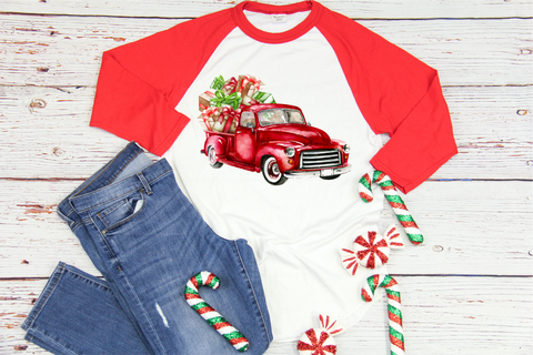 Red Watercolor Truck with Gifts
