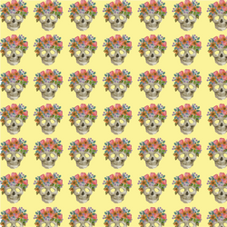"""Skull Candy Floral Yellow"" Permanent Adhesive Vinyl OR  Heat Transfer Vinyl"