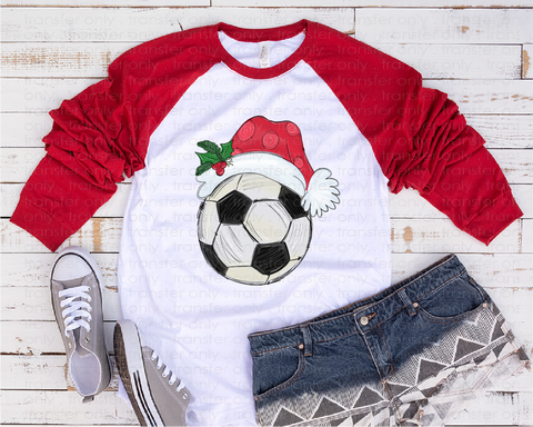 """Christmas Soccer Transfer"" -Ready to Press Heat Transfer/Sublimation Transfer, Soccer Transfer"