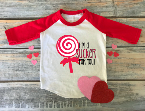 """Sucker for You Red Swirl"" Valentines - Ready to Press Heat Transfer"