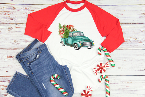 """Turquoise Watercolor Truck with Gifts""  -Ready to Press Heat Transfer/Sublimation Transfer"
