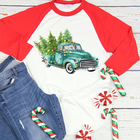 """Watercolor Teal Truck with Lights"" -Ready to Press Heat Transfer/Sublimation Transfer"