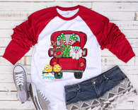 """ Hand Painted Christmas Truck with SANTA and REINDEER""-Ready to Press Heat Transfer/Sublimation Transfer"